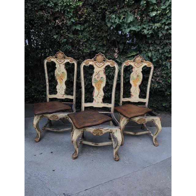 Gorgeous set of Late 18th century Italian chairs. Originally chairs were brick color, handpainted in the late 19th century...