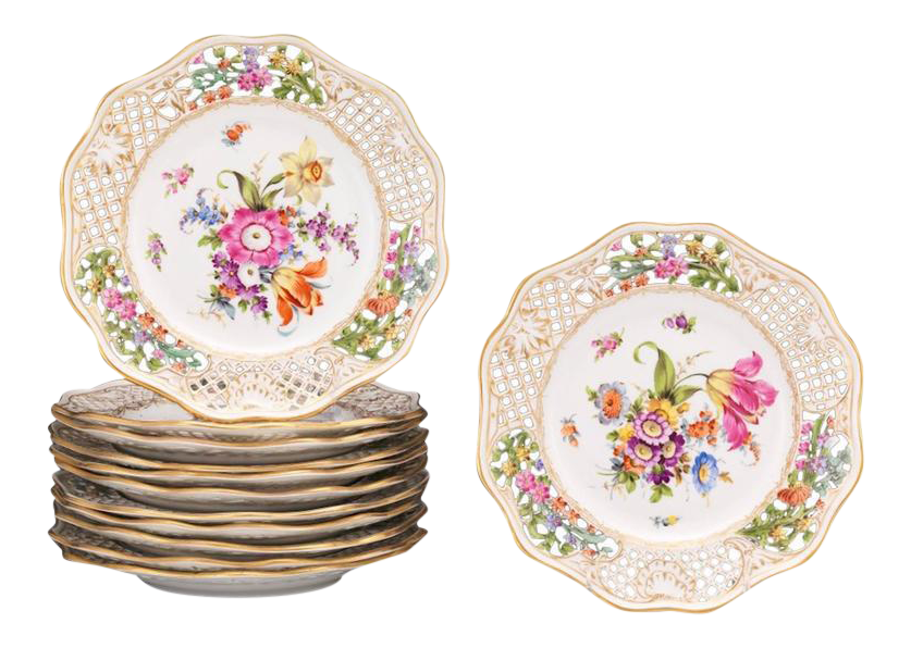 Dresden Floral Pierced Plates - Set of 12  sc 1 st  Chairish & Vintage \u0026 Used Victorian Dinnerware | Chairish
