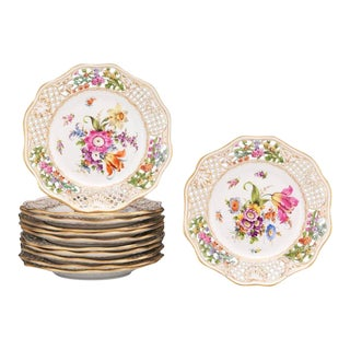 Dresden Floral Pierced Plates - Set of 12 For Sale