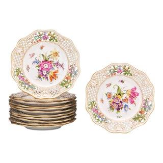 Dresden Floral Pierced Plates - Set of 12