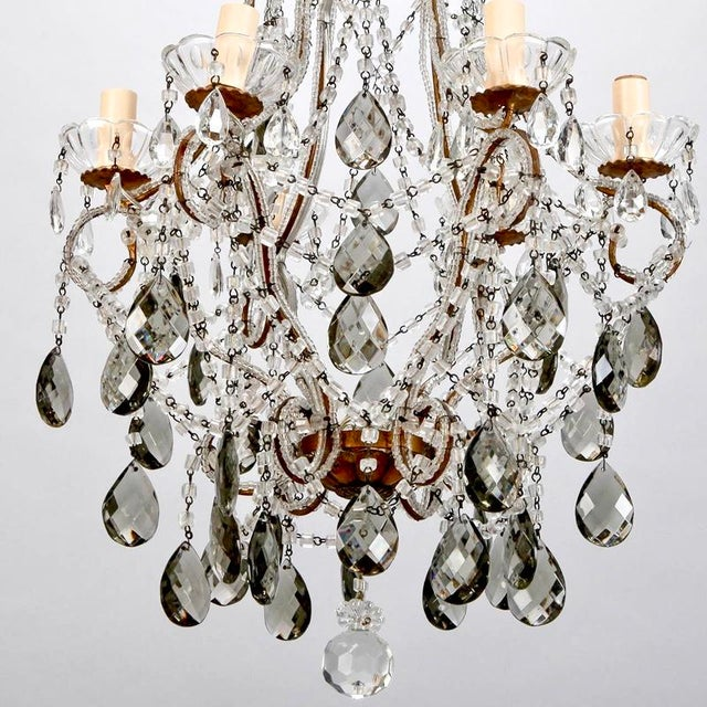 French Six Light All Crystal Beaded Chandelier With Smoke Color Drops - Image 7 of 10