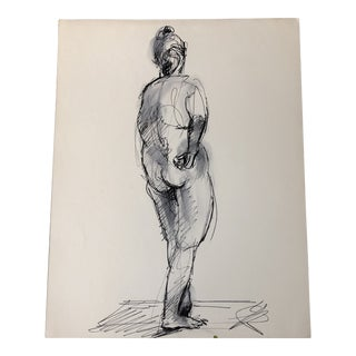 Vintage Original Ink Wash Female Nude Double Sided Painting For Sale