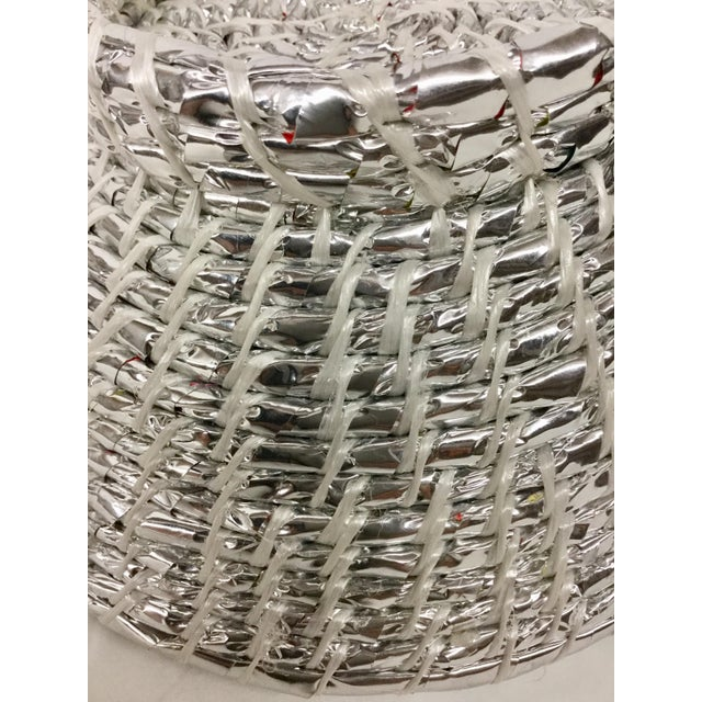 Silver Modern Artisan Hand Woven Repurposed Plastic Basket For Sale - Image 8 of 11