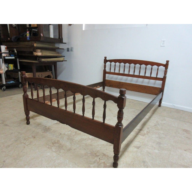 Stickley Cherry Spindle Carved Full Size Headboard Bedframe - Image 3 of 5