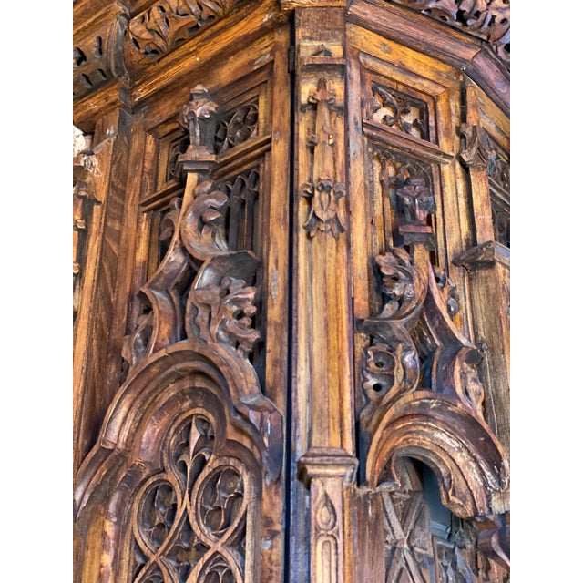Gothic Revival Oak Cupboard Heavily Carved, circa 1850 For Sale - Image 6 of 13