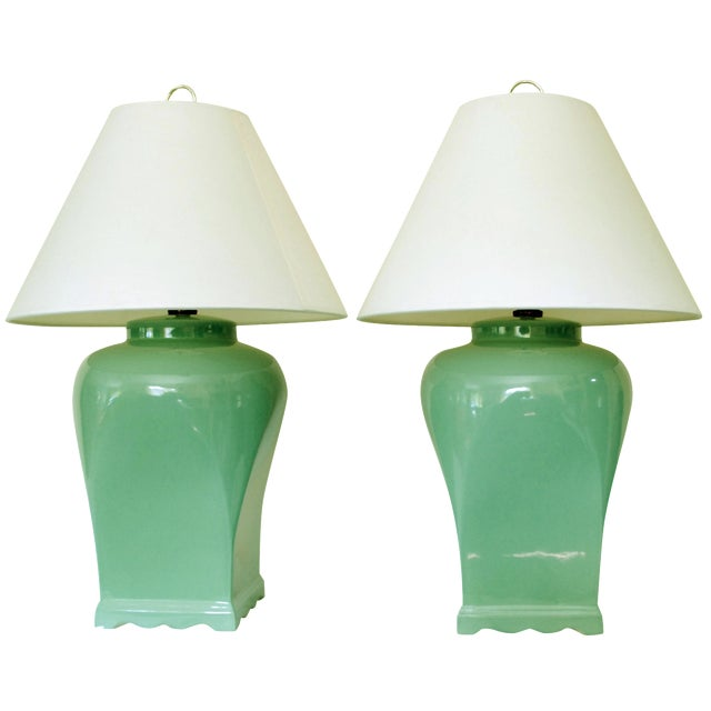 Vintage Celadon Asian-Style Lamps - A Pair - Image 1 of 4