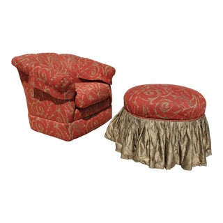 1960s Hollywood Regency Brocade Barrel Chair and Ottoman - Two Piece Set For Sale