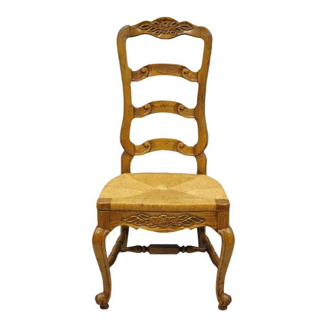 Bernhardt Country French Woven Rush Seat Oak Wood Ladder Back Dining Chair For Sale