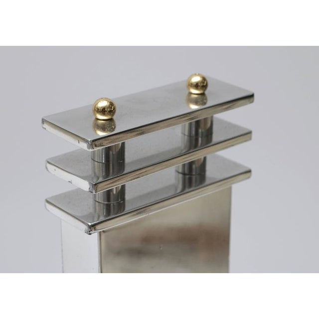 Art Deco Aluminum and Brass Andirons - A Pair - Image 3 of 9