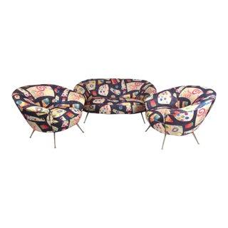 Vintage Italian Modern Living Room Sofa Set - Set of 3 For Sale