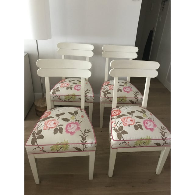 Floral Dining Room Chairs - Set of 4 - Image 5 of 7