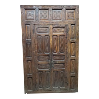 1970s Moroccan Berber Style Hand-Carved Double Doors For Sale