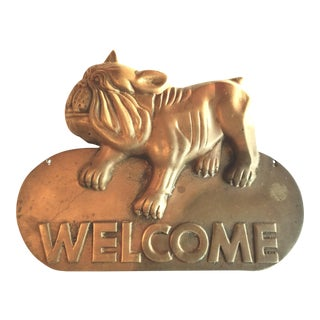 Antique English Brass Bulldog Welcome Sign For Sale