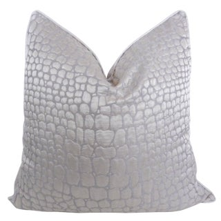 Platinum Alligator Print Satin Pillow