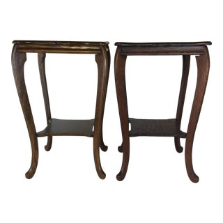 Antique French Style Oak Side Table - a Pair For Sale