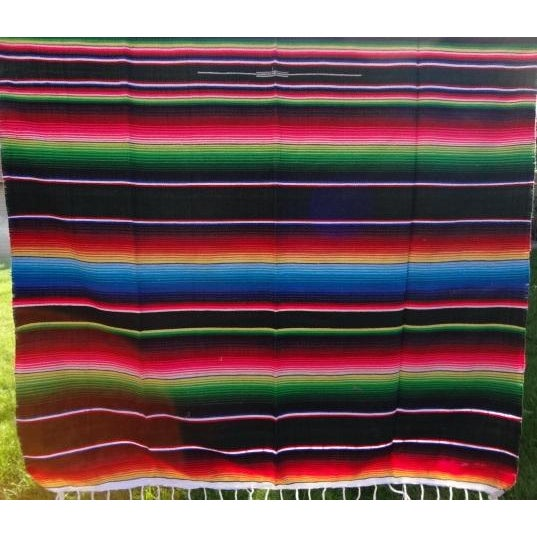 Boho Chic Mexican Sarape Colorful Lightweight Woven Coverlet Throw For Sale - Image 3 of 3