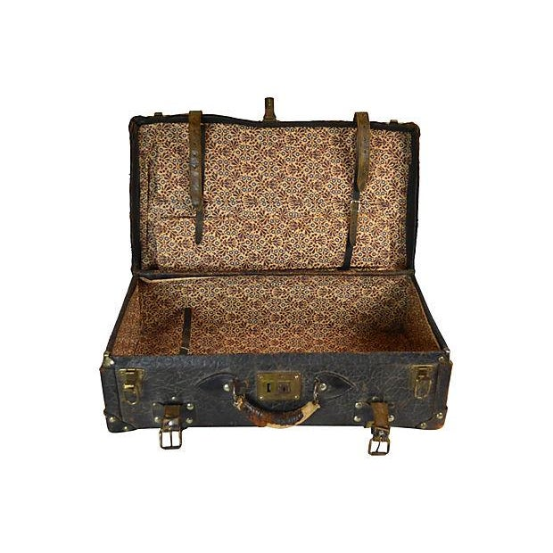 Vintage European Leather Suitcase For Sale - Image 6 of 6