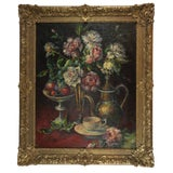 Image of Late 19th Century Antique C. Maniere French Still Life Painting For Sale