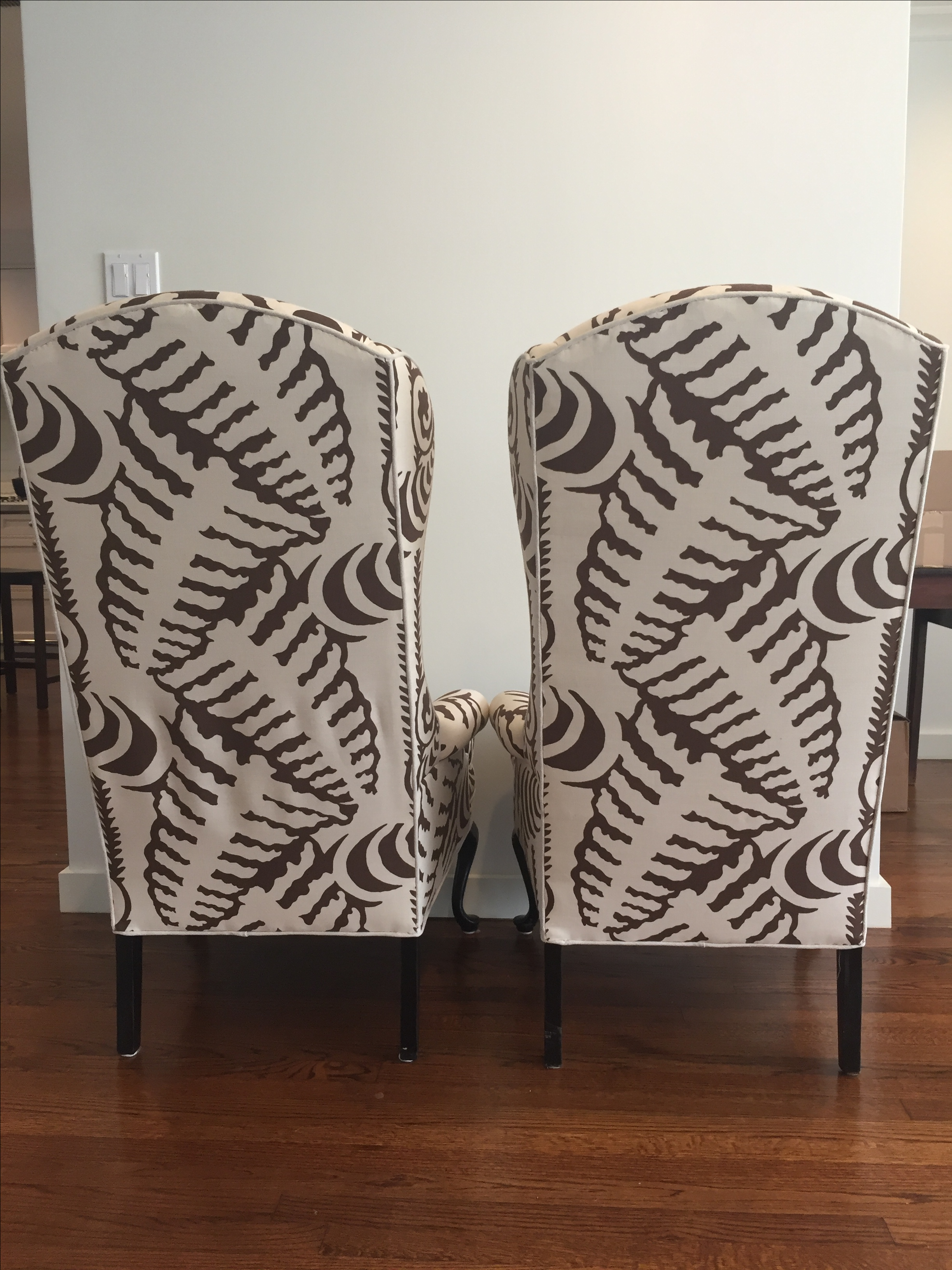 Quadrille Fabric Wingback Chairs - A Pair - Image 10 of 10  sc 1 st  Chairish & Quadrille Fabric Wingback Chairs - A Pair | Chairish