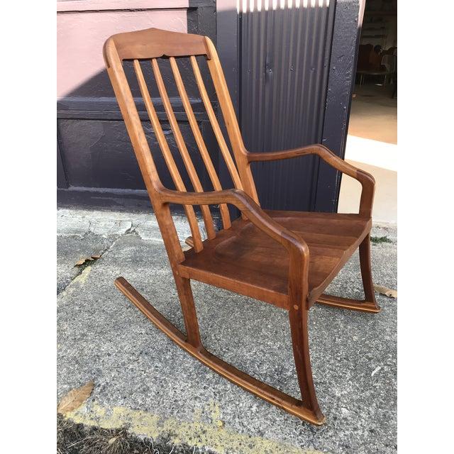 Mid-Century Modern American Studio Walnut Rocking Chair Craft Movement For Sale - Image 3 of 13