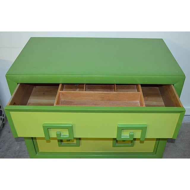 Kittinger Green Kittinger Two-Tone Greek Key Chests - A Pair For Sale - Image 4 of 9