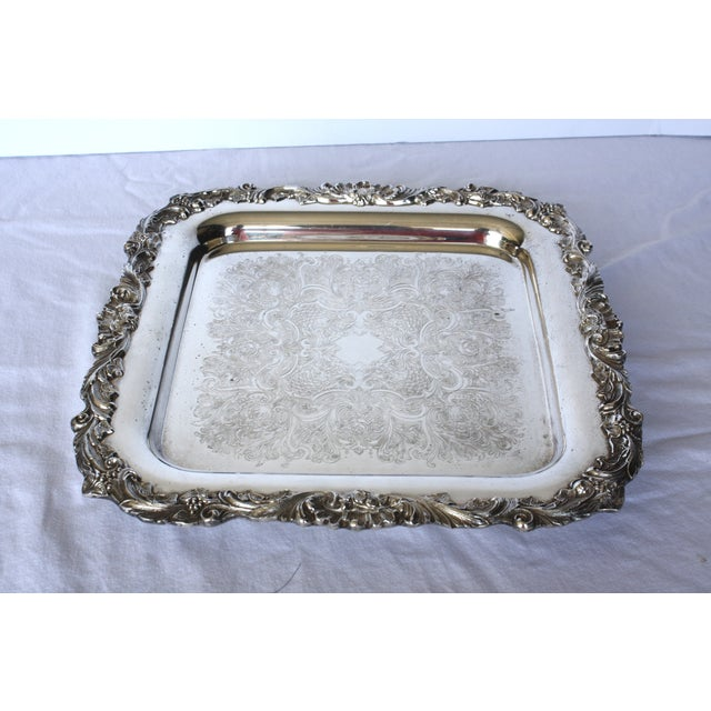 Footed Square Silver Tray - Image 2 of 5