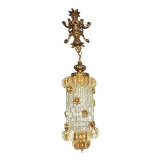 Vintage Glam Hollywood Regency Brass & Glass Filigree Hanging Swag Lamp /Chandelier For Sale