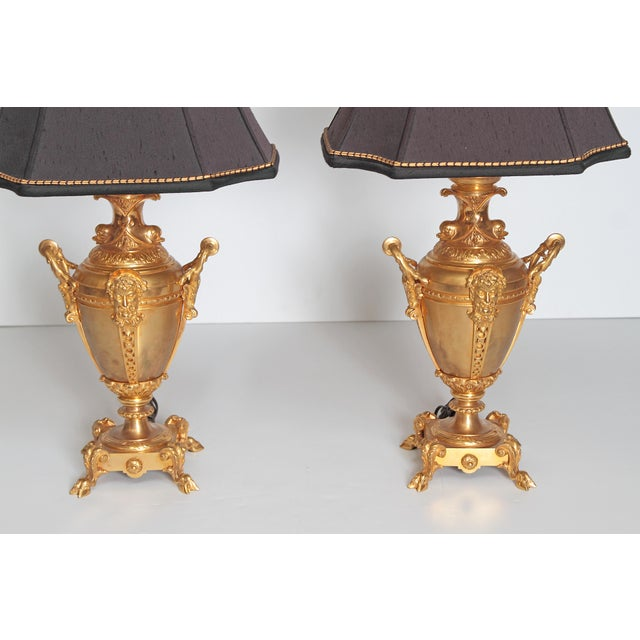 19th Century Continental Pair of Gilt Metal Vases as Lamps For Sale - Image 11 of 13