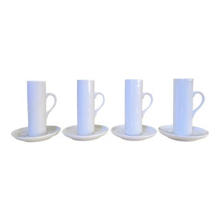 Minimalist Lagardo Tackett Schmid Porcelain Espresso Cups + Saucers, 8 Pieces - Service for 4 For Sale