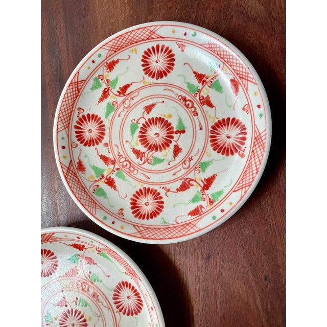 Folk Art Vintage Red Flower Folk Art Plates- a Pair For Sale - Image 3 of 8