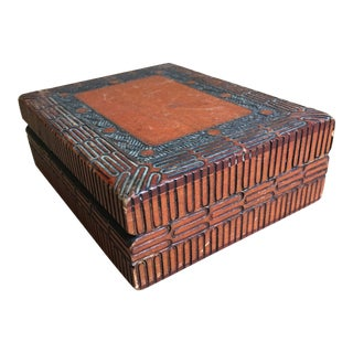Primitive Boho Chic Hand-Carved Wooden Box