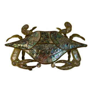 Vintage Brass and Abalone Crab For Sale