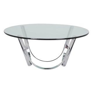 Tri-Mark Chrome & Glass Coffee Table For Sale