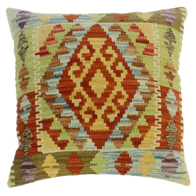 "Clarissa Rust/Lt. Blue Hand-Woven Kilim Throw Pillow(18""x18"") For Sale"