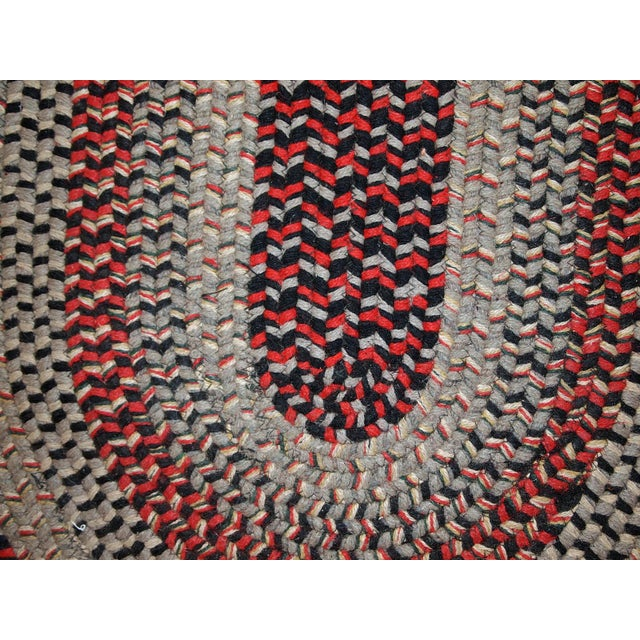 Textile 1930s Antique American Handmade Braided Oval Rug - 2′2″ × 3′9″ For Sale - Image 7 of 10