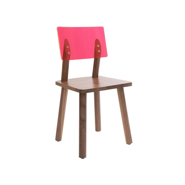 Nico & Yeye AC/BC Chair (Acrylic Back), Solid Walnut with Pink Finish Acrylic Back For Sale - Image 4 of 4