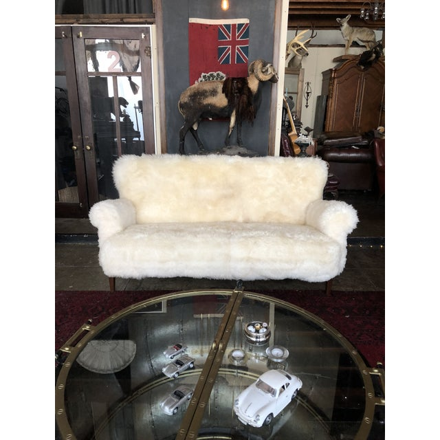 White Mongolian Wool Sofa For Sale - Image 13 of 13