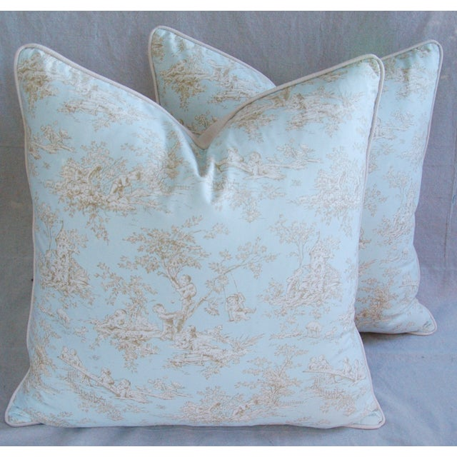 Designer French Blue & White Toile Pillows - Pair - Image 4 of 8