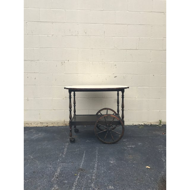 20th Century English Traditional Tea Cart With Collapsible Sides For Sale In Atlanta - Image 6 of 9