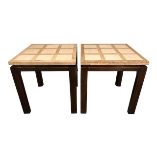 1960s Mid-Century Modern Harvey Probber Travertine Walnut Side Tables - a Pair For Sale