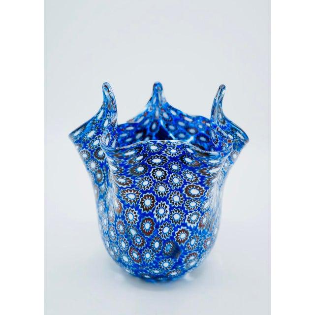 Vintage Blue Murano Millefiori Handkerchief Vase For Sale - Image 10 of 13