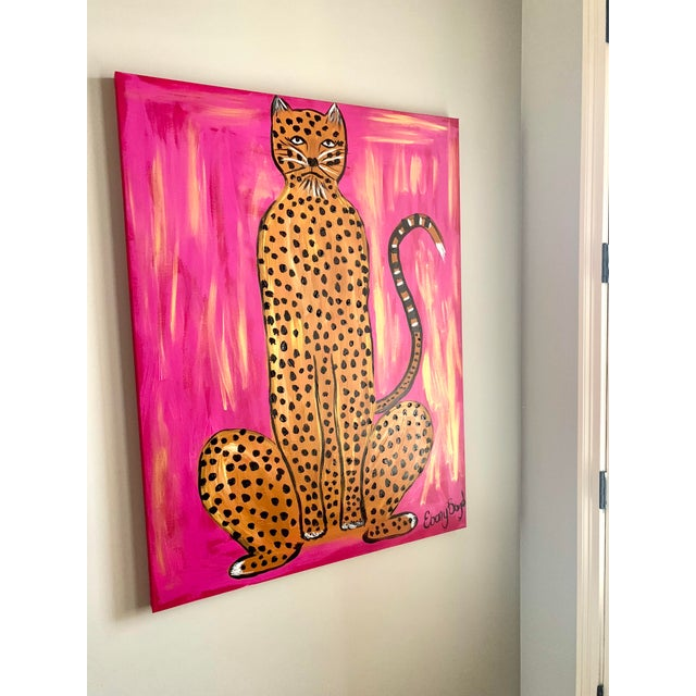 This gorgeous oversized leopard would be gorgeous framed or without. The deep pink hues would make a big statement in any...