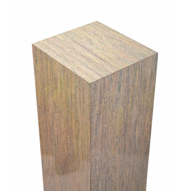 Modern Vintage Modern Faux Marble Travertine Pedestal Sculpture Plant Stand For Sale - Image 3 of 5
