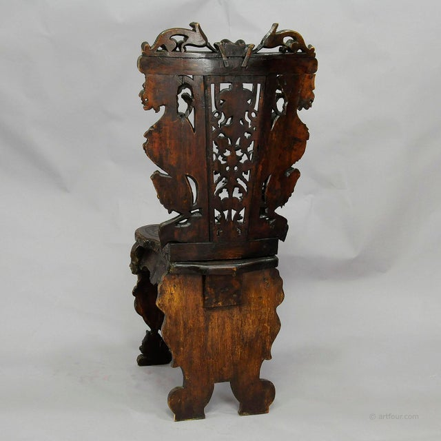 Wood A Great Renaissance Style Italian Sgabello Chair Ca. 1860 For Sale - Image 7 of 13