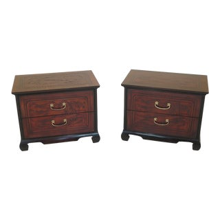 Drexel Heritage Asian Inspired Nightstand Chests - A Pair For Sale