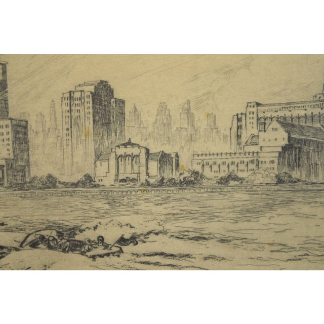 1950's William Kent Hagerman Chicago Lakefront Skyline Speedboat Etching Print For Sale - Image 4 of 10