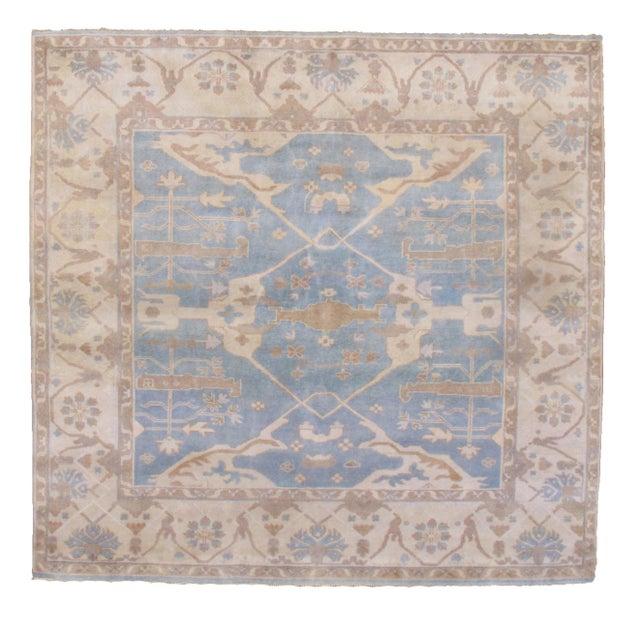 Blue Pasargad N Y Oushak Wool Rug - 8′8″ × 9′9″ For Sale - Image 8 of 8