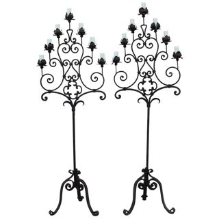 Antique Gothic Hand Forged Floor Lamps - a Pair For Sale