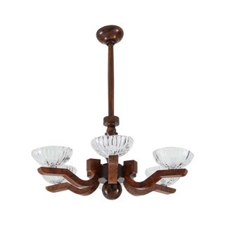 1930s Italian Art Deco Burl Wood and Glass Chandelier For Sale