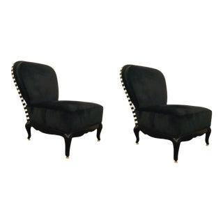 Caracole Signature Modern Black Velvet Yves Slipper Chairs - a Pair For Sale